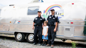 Mark and Ralph with Miette and her Airstream (RV Specialty and Supplies in West Richland).