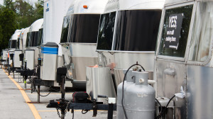 A row of Airstreams waiting to be serviced. There was another row just as long.