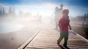 Walking Backwards at West Thumb Geyser Basin in Yellowstone National Park