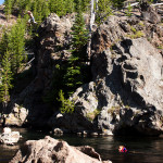Cliff Jumping at Firehole swimming in Yellowstone National Park